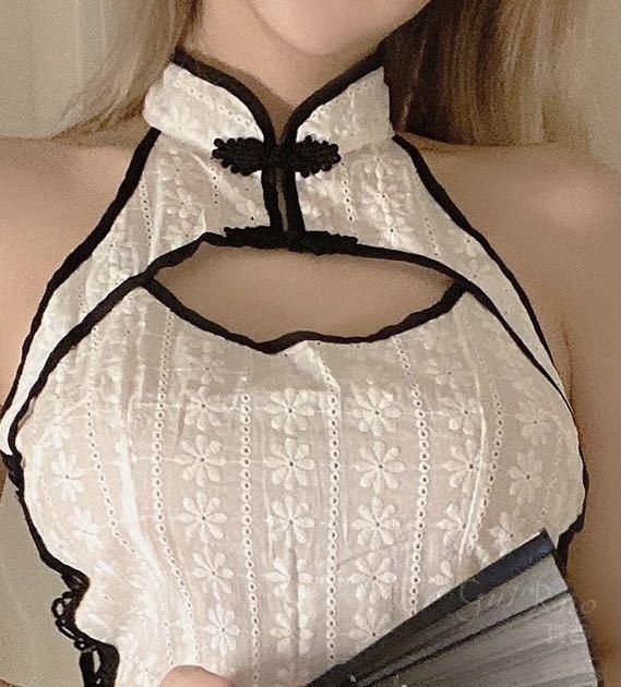 チャイナドレス タイトワンピース 花柄 涼しい 夏チャイナ チャイナ服 可愛いコスチューム コスプレ衣装 おしゃれ ホワイト_画像3