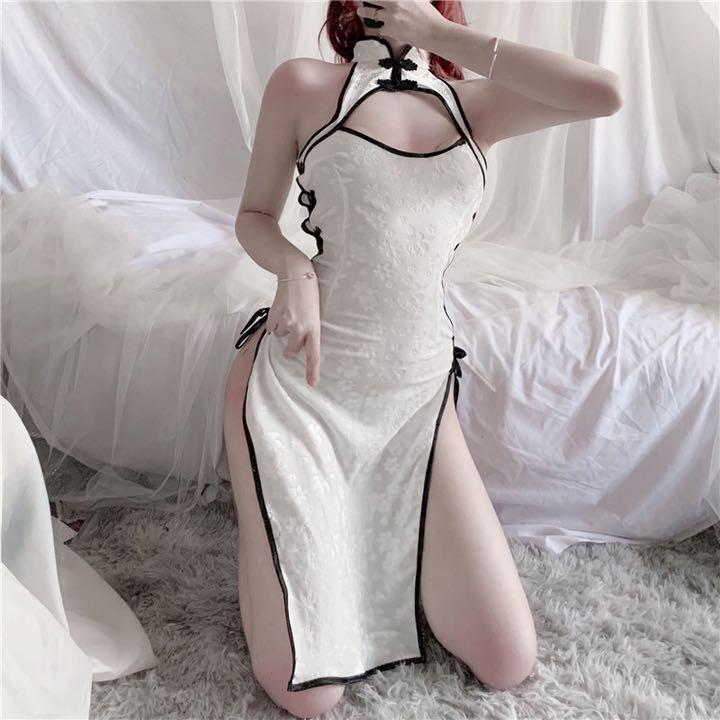 セクシーコスプレ sexyチャイナドレス ホワイト 花柄模様 魅力的なドレス衣装_画像5