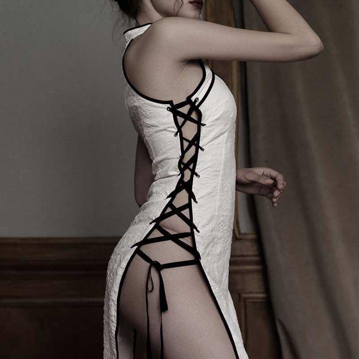 セクシーコスプレ sexyチャイナドレス ホワイト 花柄模様 魅力的なドレス衣装_画像6
