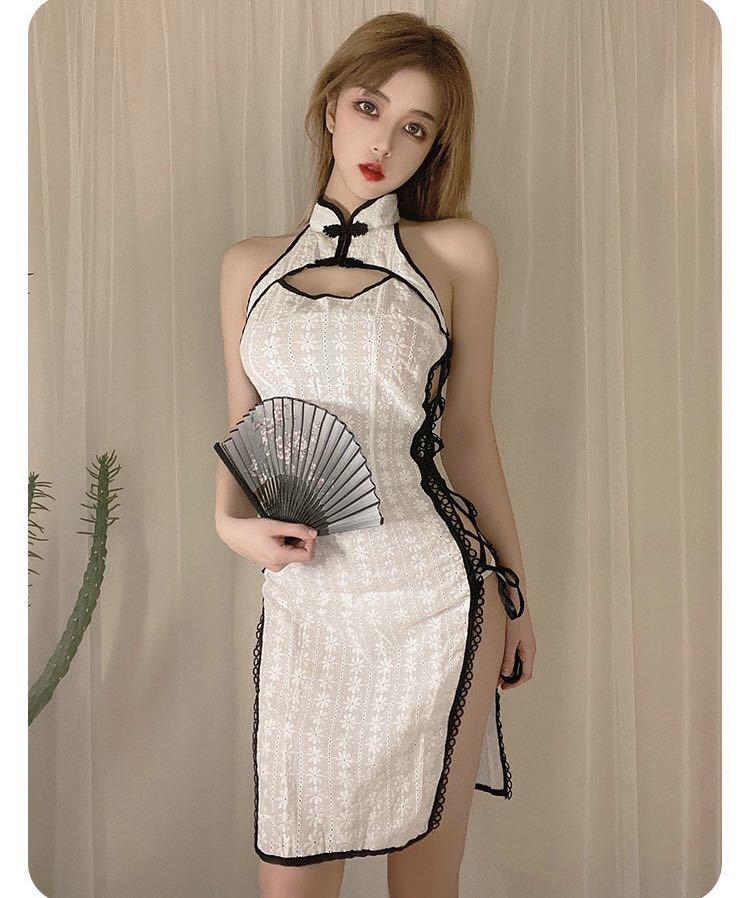 チャイナドレス タイトワンピース 花柄 涼しい 夏チャイナ チャイナ服 可愛いコスチューム コスプレ衣装 おしゃれ ホワイト_画像1