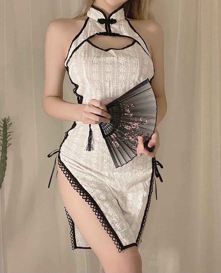 チャイナドレス タイトワンピース 花柄 涼しい 夏チャイナ チャイナ服 可愛いコスチューム コスプレ衣装 おしゃれ ホワイト_画像4