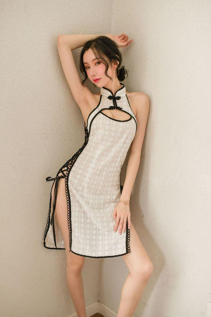 チャイナドレス タイトワンピース 花柄 涼しい 夏チャイナ チャイナ服 可愛いコスチューム コスプレ衣装 おしゃれ ホワイト_画像9