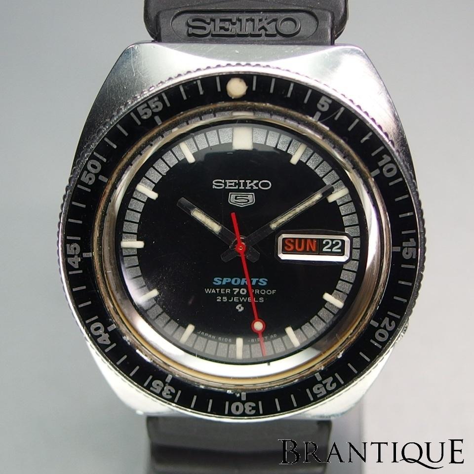 希少 SEIKO Seiko5 sports セイコーファイブ スポーツ 自動巻き 6106-8120 SS/ラバー デイデイト 純正ベルト/バックル メンズ 腕時計