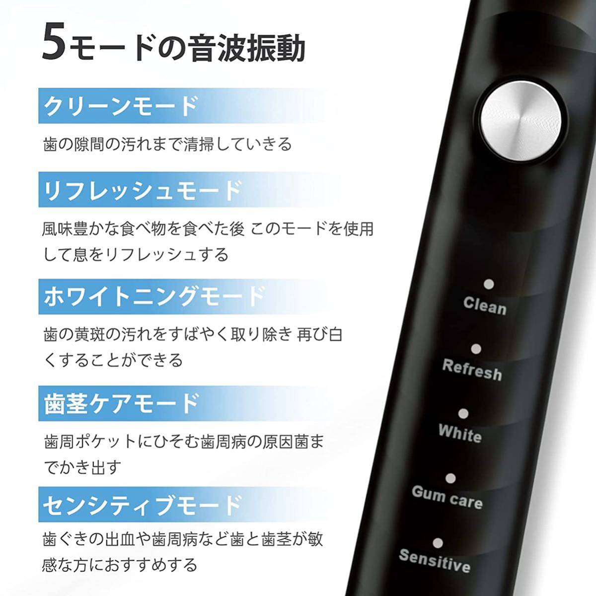 電動音波歯ブラシ 5つのモード 多機能搭載 収納ケース付き 替えブラシ5本