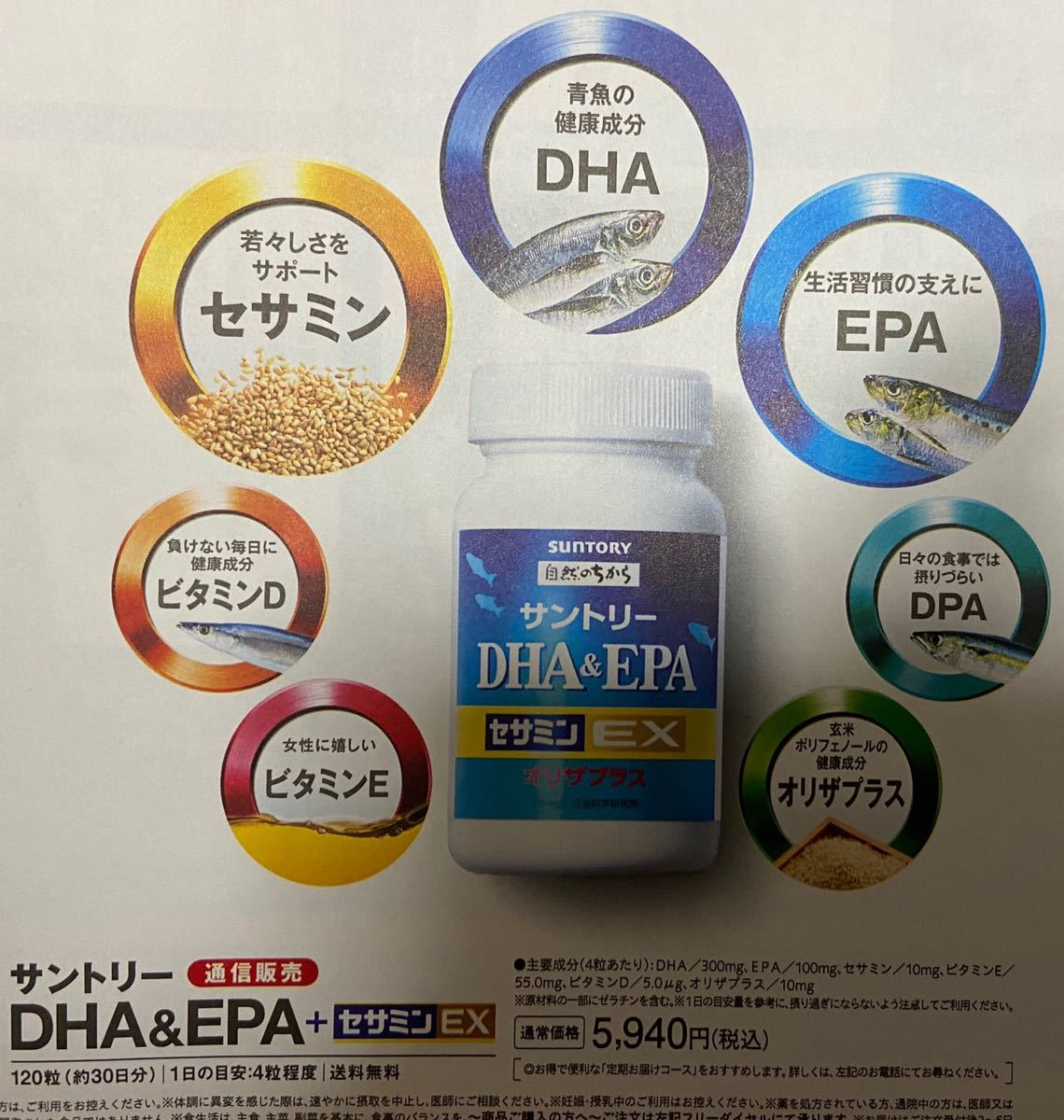 サントリーサプリメント 無料応募用紙20枚 健康食品 定価5940円→無料→申込用紙20枚 サントリーDHA&EPA +セサミンEX_画像3