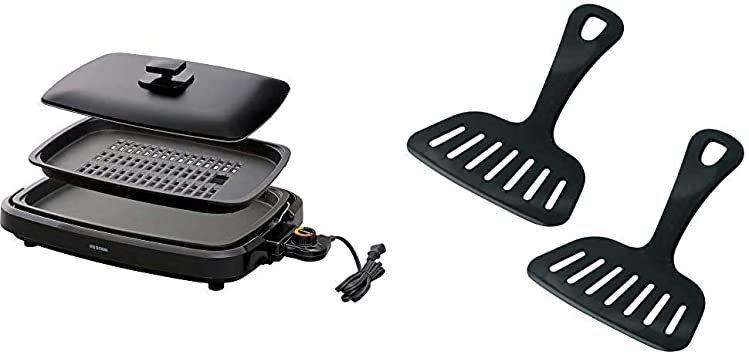 新品ブラック アイリスオーヤマ ホットプレート 焼肉 平面 プレート 2枚 蓋付き ブラック APA-136-B +EVGQ_画像1