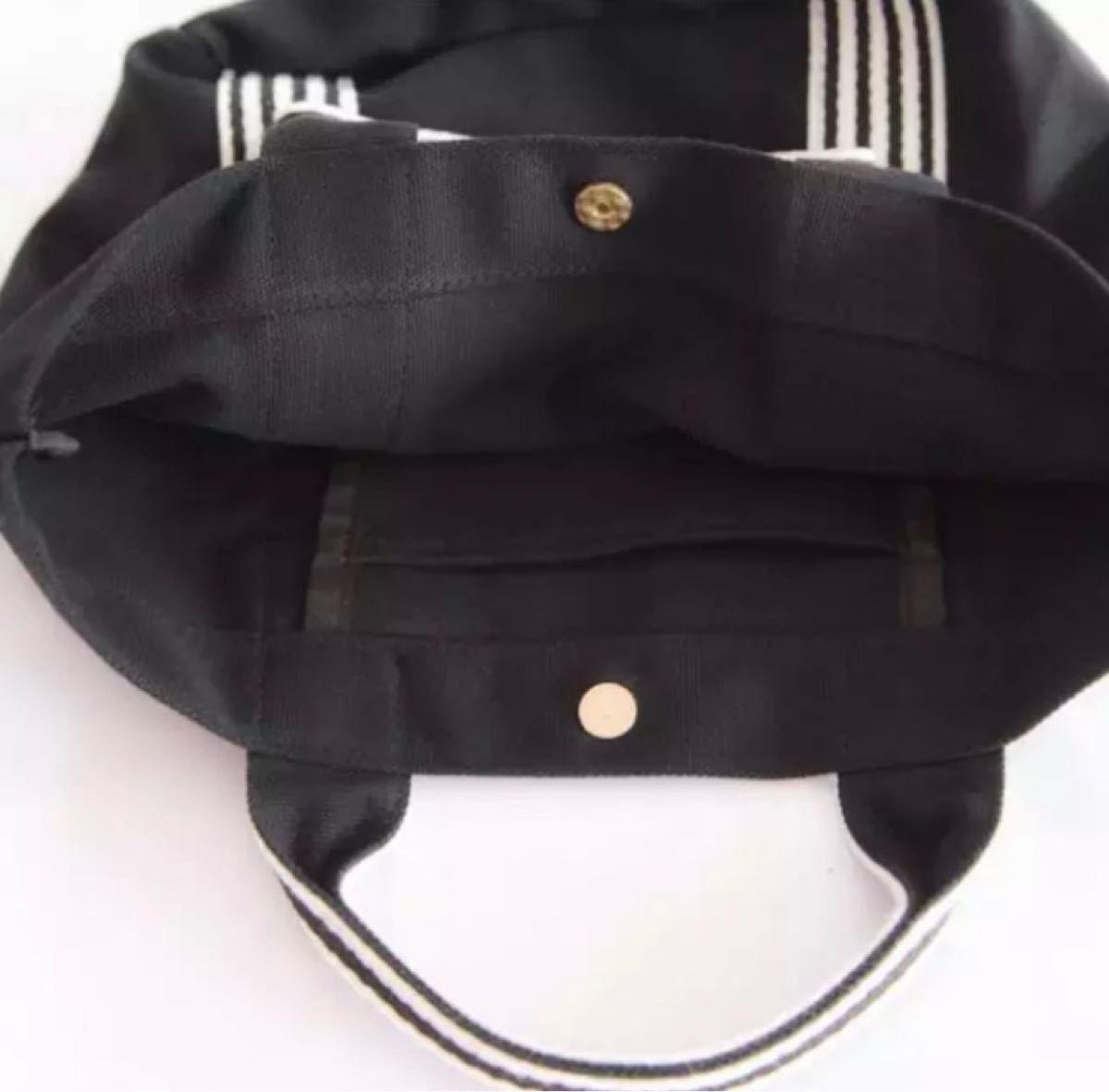 トートバッグ リボン キャンバス ミニトート ボーダー ランチバッグ ブラック マザーズバッグ 黒 エコバッグ ミニバッグ カバン