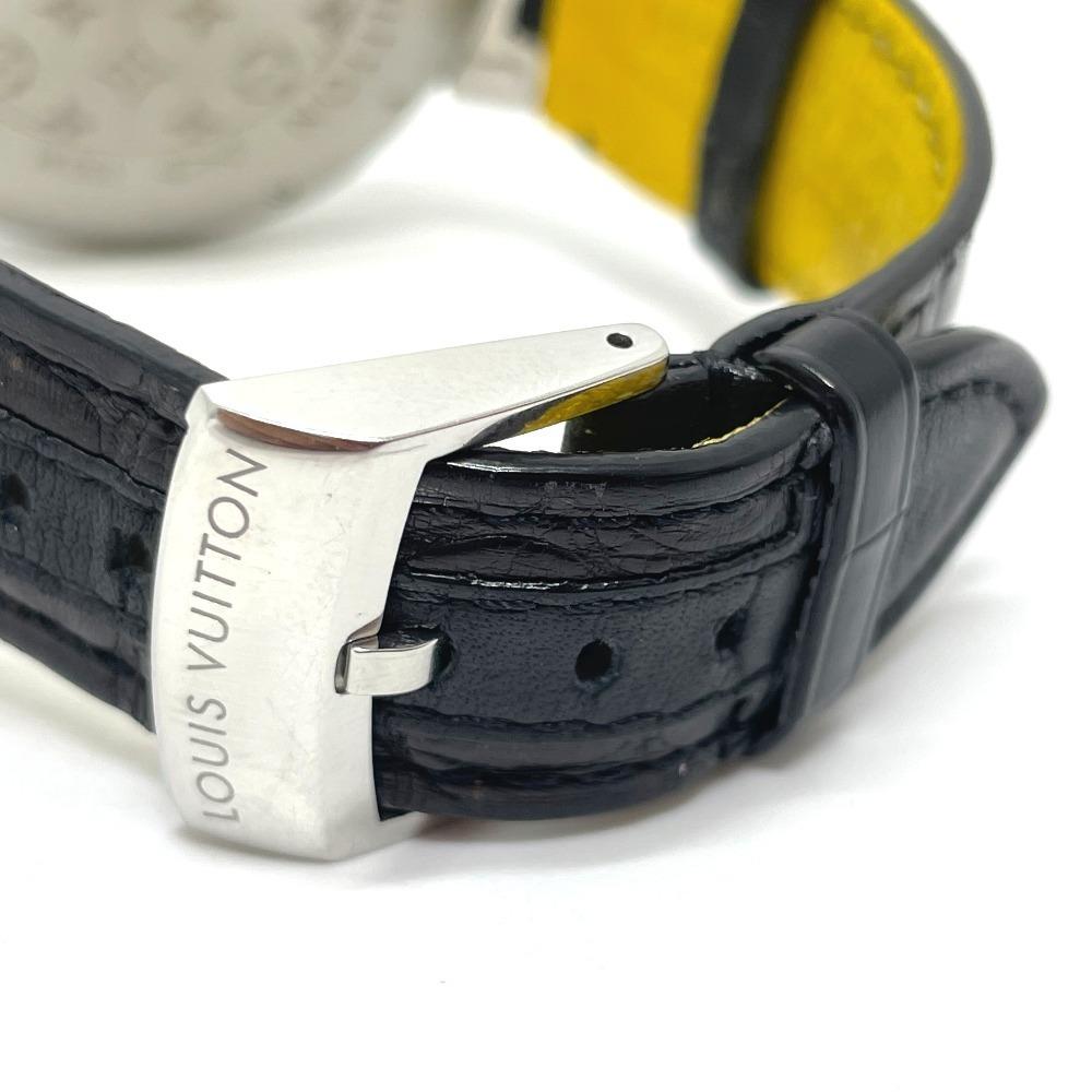 LOUIS VUITTON ルイヴィトン Q102B クロノグラフ タンブール フライバック 自動巻き メンズ腕時計 SS/革ベルト メンズ シルバー×ブラック_画像7