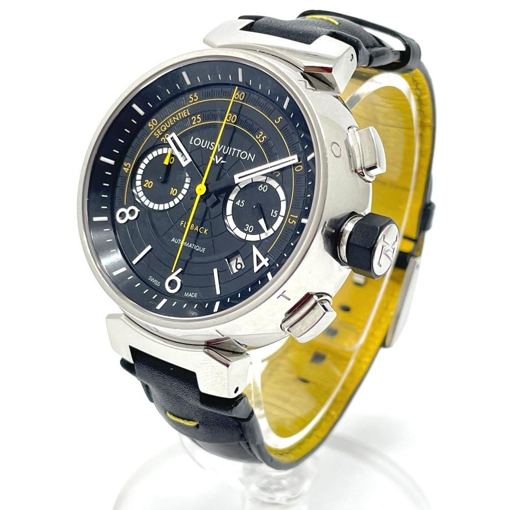LOUIS VUITTON ルイヴィトン Q102B クロノグラフ タンブール フライバック 自動巻き メンズ腕時計 SS/革ベルト メンズ シルバー×ブラック_画像2