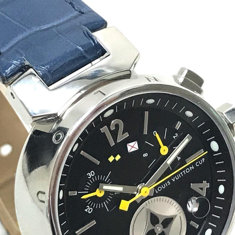LOUIS VUITTON ルイヴィトン Q132G タンブール ラブリーカップMM クロノグラフ デイト レディース腕時計 SS/アリゲーター ブラック×ブルー_画像3