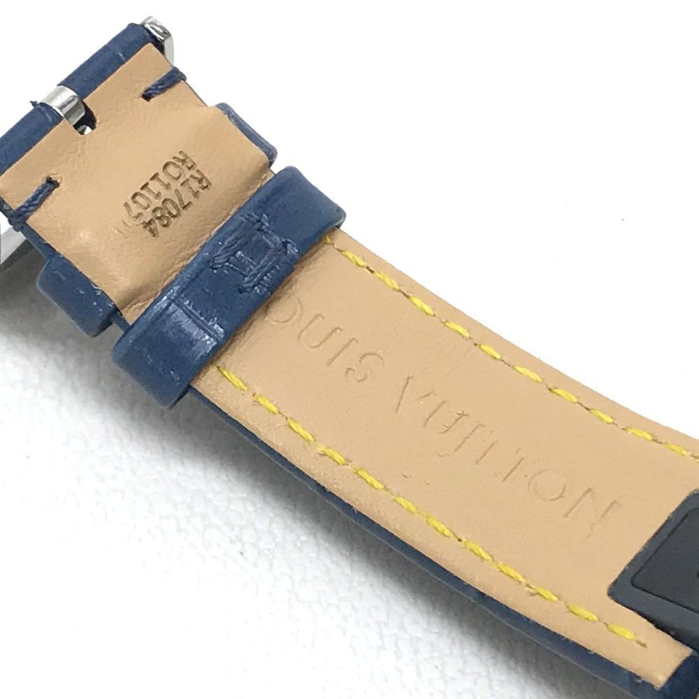 LOUIS VUITTON ルイヴィトン Q132G タンブール ラブリーカップMM クロノグラフ デイト レディース腕時計 SS/アリゲーター ブラック×ブルー_画像6