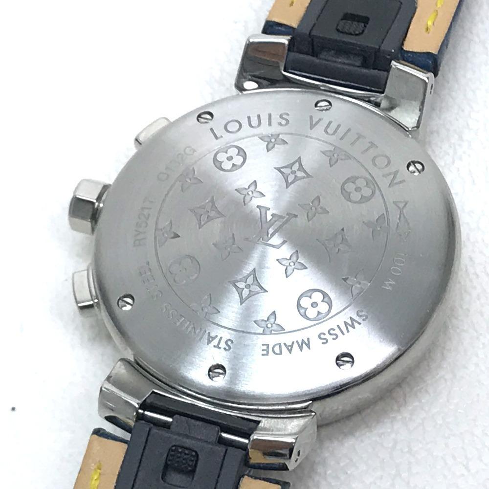 LOUIS VUITTON ルイヴィトン Q132G タンブール ラブリーカップMM クロノグラフ デイト レディース腕時計 SS/アリゲーター ブラック×ブルー_画像5