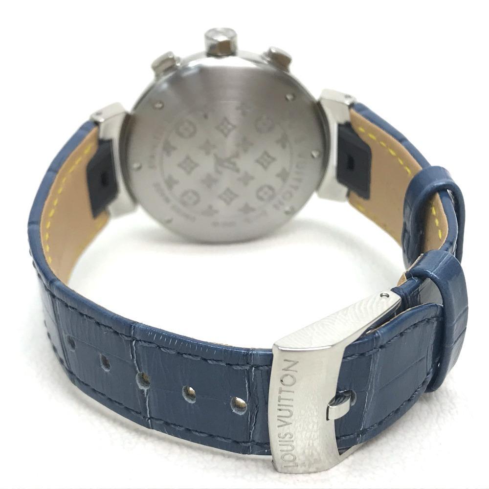 LOUIS VUITTON ルイヴィトン Q132G タンブール ラブリーカップMM クロノグラフ デイト レディース腕時計 SS/アリゲーター ブラック×ブルー_画像4