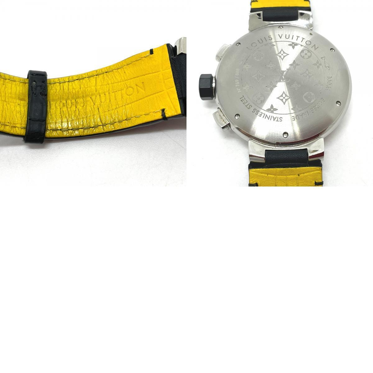 LOUIS VUITTON ルイヴィトン Q102B クロノグラフ タンブール フライバック 自動巻き メンズ腕時計 SS/革ベルト メンズ シルバー×ブラック_画像9