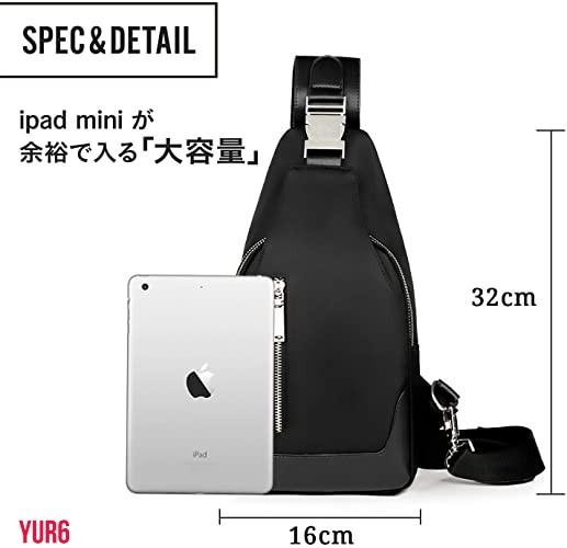 ボディバッグ メンズ 斜めがけ 大容量 軽量 防水 ワンショルダーバッグ 肩掛けバッグ 盗難防止 iPadmini収納可能 ブラック