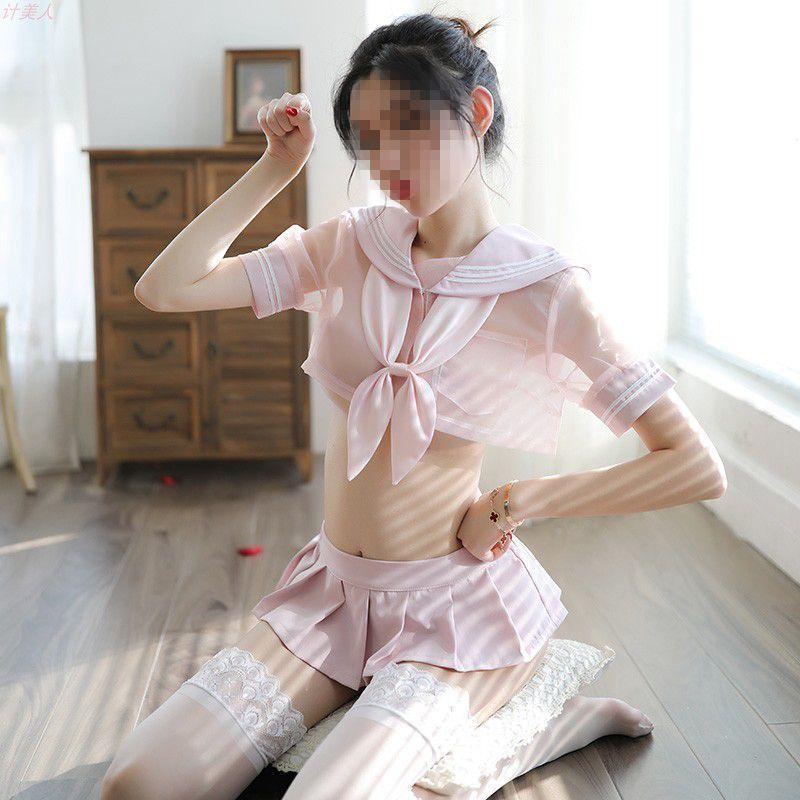 可愛らしくセクシー 学生服風コスプレ衣装 .透ける.セーラー!トップス+スカート+Tバック+リボン.4点セット.艶かしい TKS51_画像2