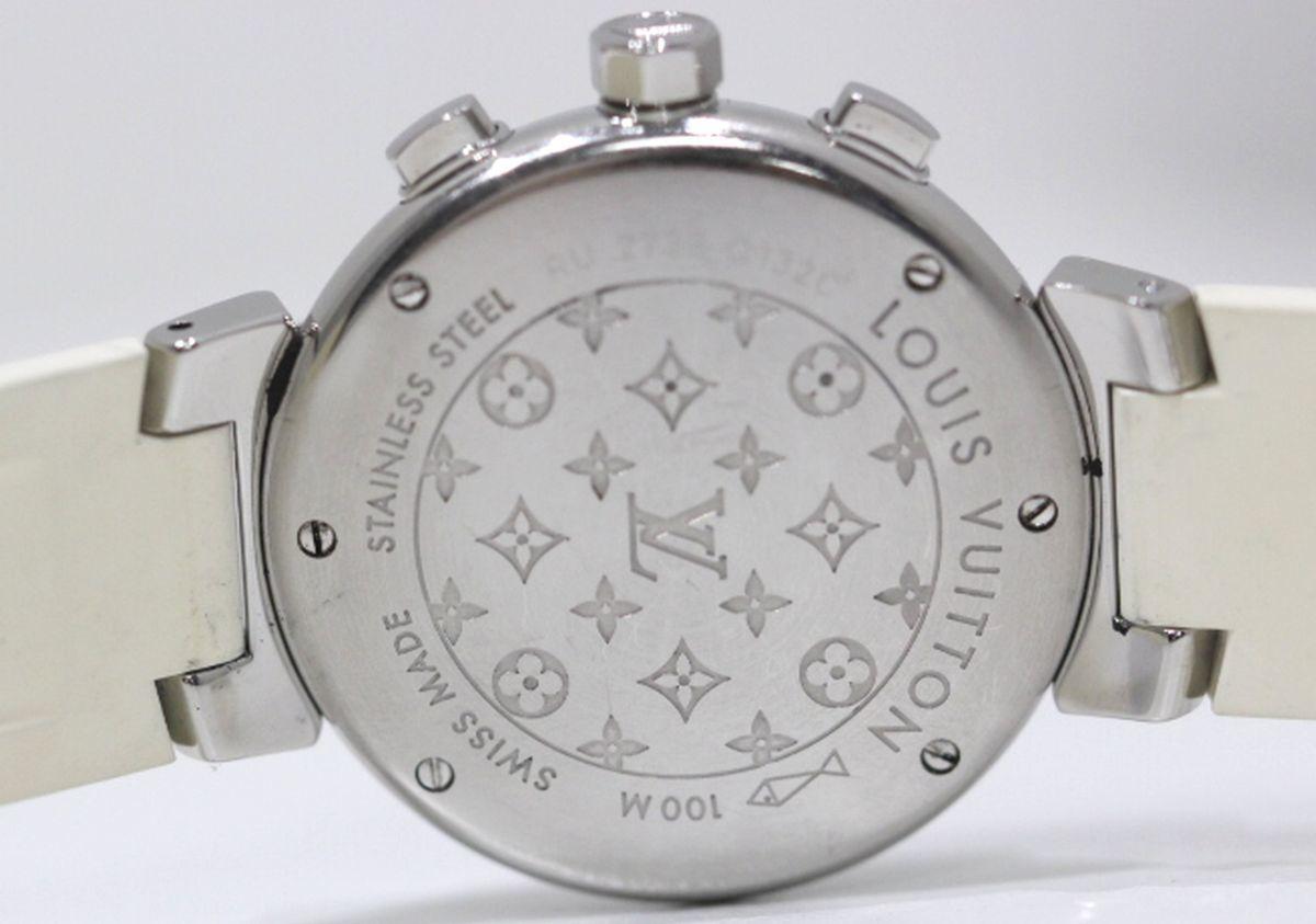 定価56万円超 美品 ヴィトン Q132C タンブール ラブリーカップ クロノグラフ クオーツ シェル文字盤 時計 ボーイズ シェル文字盤 3280_画像7