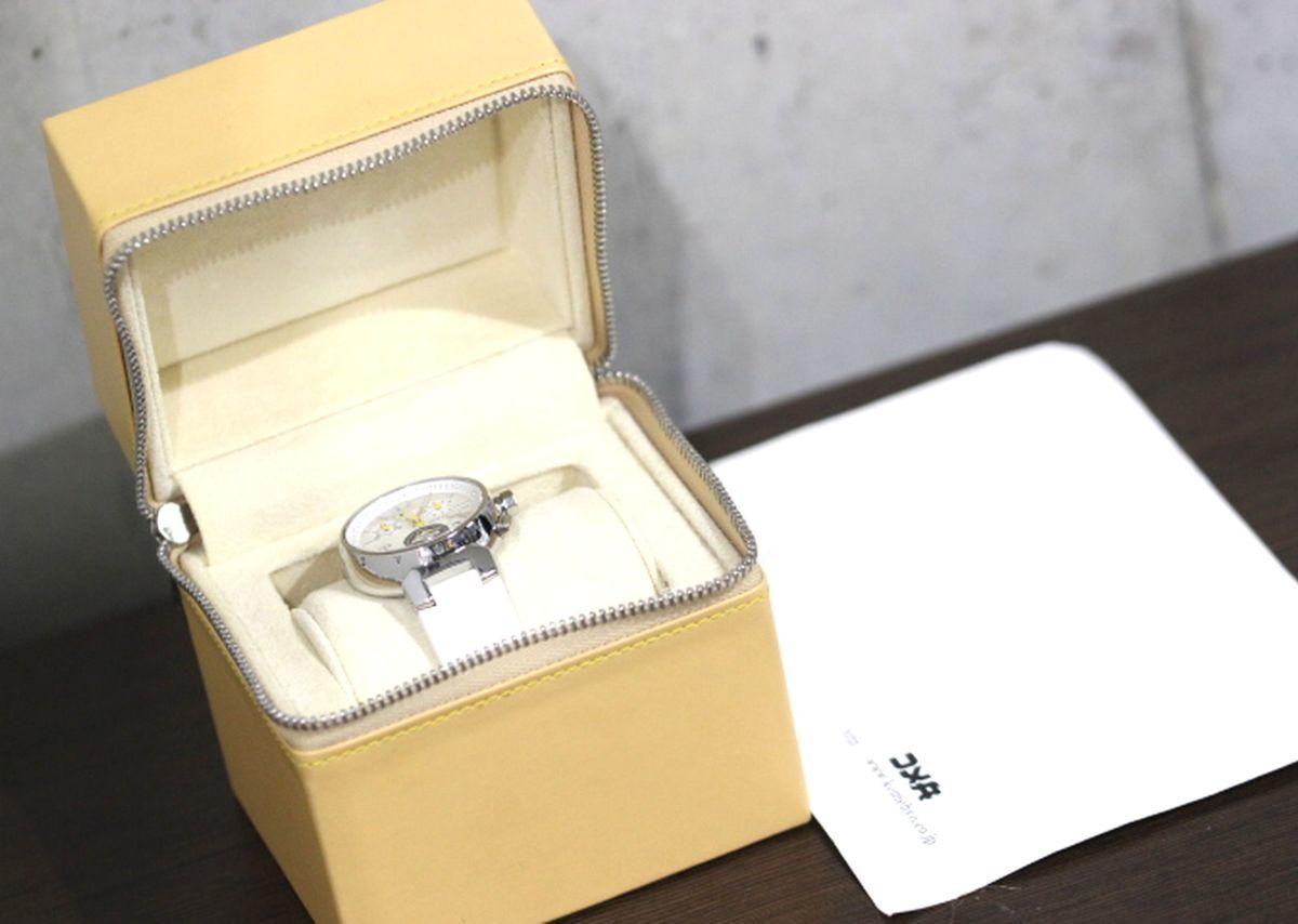 定価56万円超 美品 ヴィトン Q132C タンブール ラブリーカップ クロノグラフ クオーツ シェル文字盤 時計 ボーイズ シェル文字盤 3280_画像9