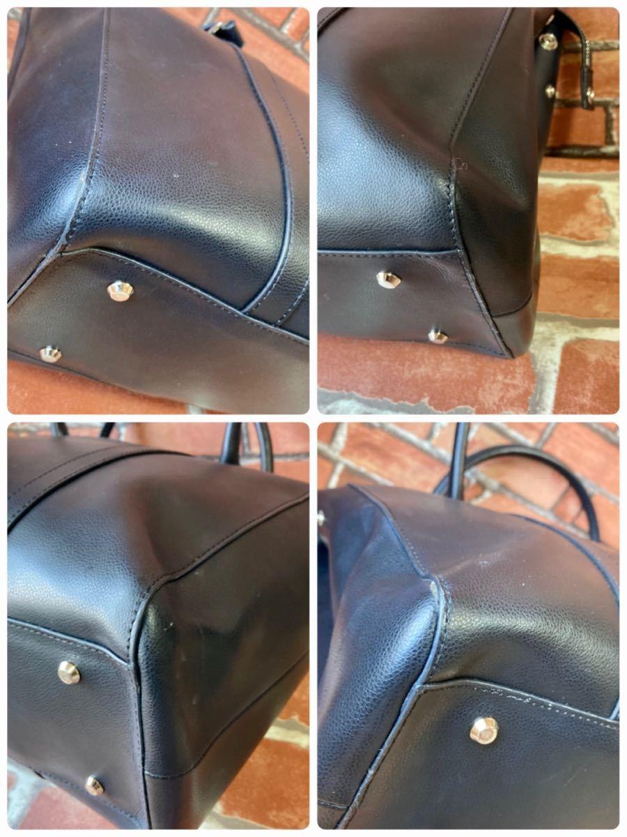 アニエスベー agnes b トートバッグ イリス iris サフィアーノレザー 革 ブラック 黒 メタルボタン リクルート ビジネスバッグ