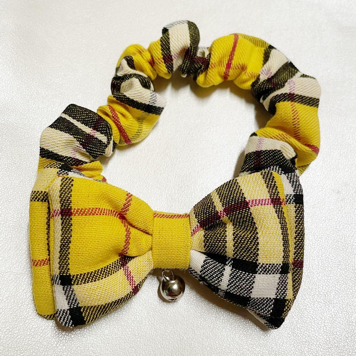 猫用 首輪 シュシュ   タータンチェック黄色