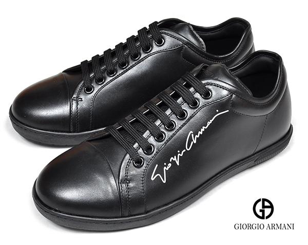 新品9.9万 GIORGIO ARMANI ジョルジオ アルマーニ 7「26.0cm相当」最高級レザースニーカー シューズ 黒 靴 イタリア製
