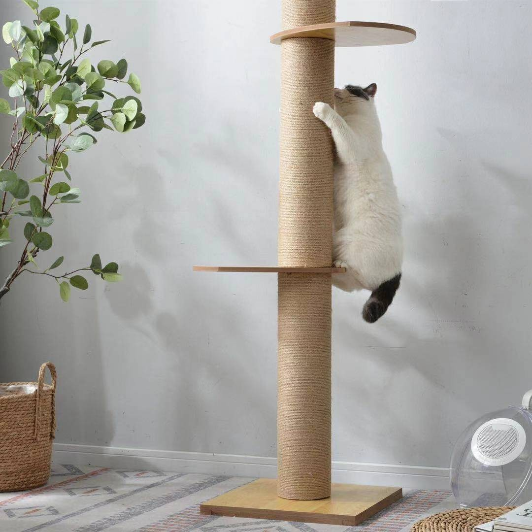 キャットタワー 木製   猫タワー 省スペース  全麻縄巻きおしゃれ 可愛い 小動物 突っ張り ペット用品 木登り 滑り止め付き