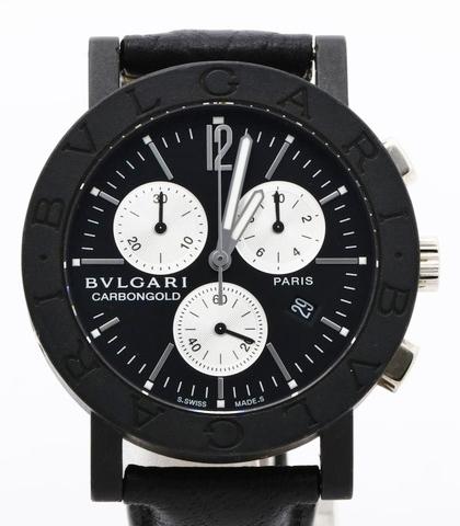 BVLGARI ブルガリ BB38CLCH ブルガリブルガリ クロノグラフ ブラック文字盤 黒 メンズ 腕時計 正規品 稼働品_画像1