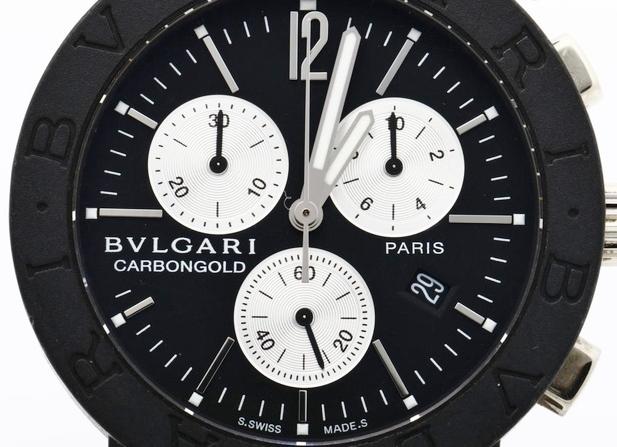 BVLGARI ブルガリ BB38CLCH ブルガリブルガリ クロノグラフ ブラック文字盤 黒 メンズ 腕時計 正規品 稼働品_画像2