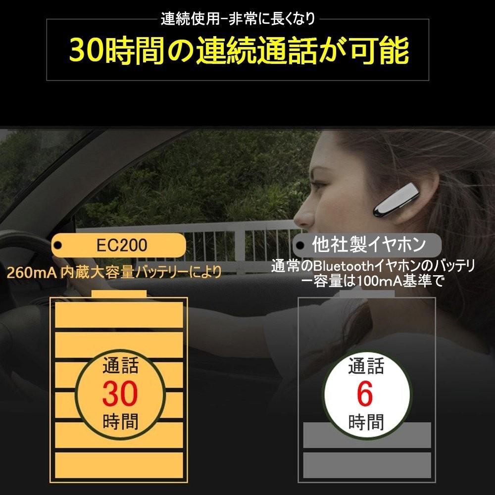 Glazata Bluetooth 日本語音声ヘッドセット V4.1 片耳 高音質 超大容量バッテリー イヤホン 30時間通話可 EC200 ホワイト_画像3