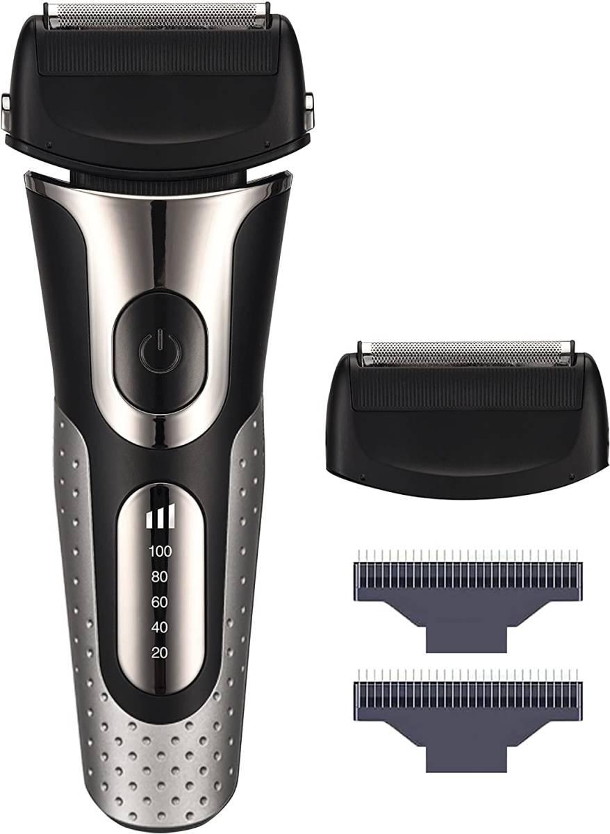 電気シェーバー 電動バリカン シェーバー 深剃り 往復式 3枚刃 ひげそり USB急速充電 トリマー搭載 IPX7防水 水洗い お風呂剃り可 シルバー