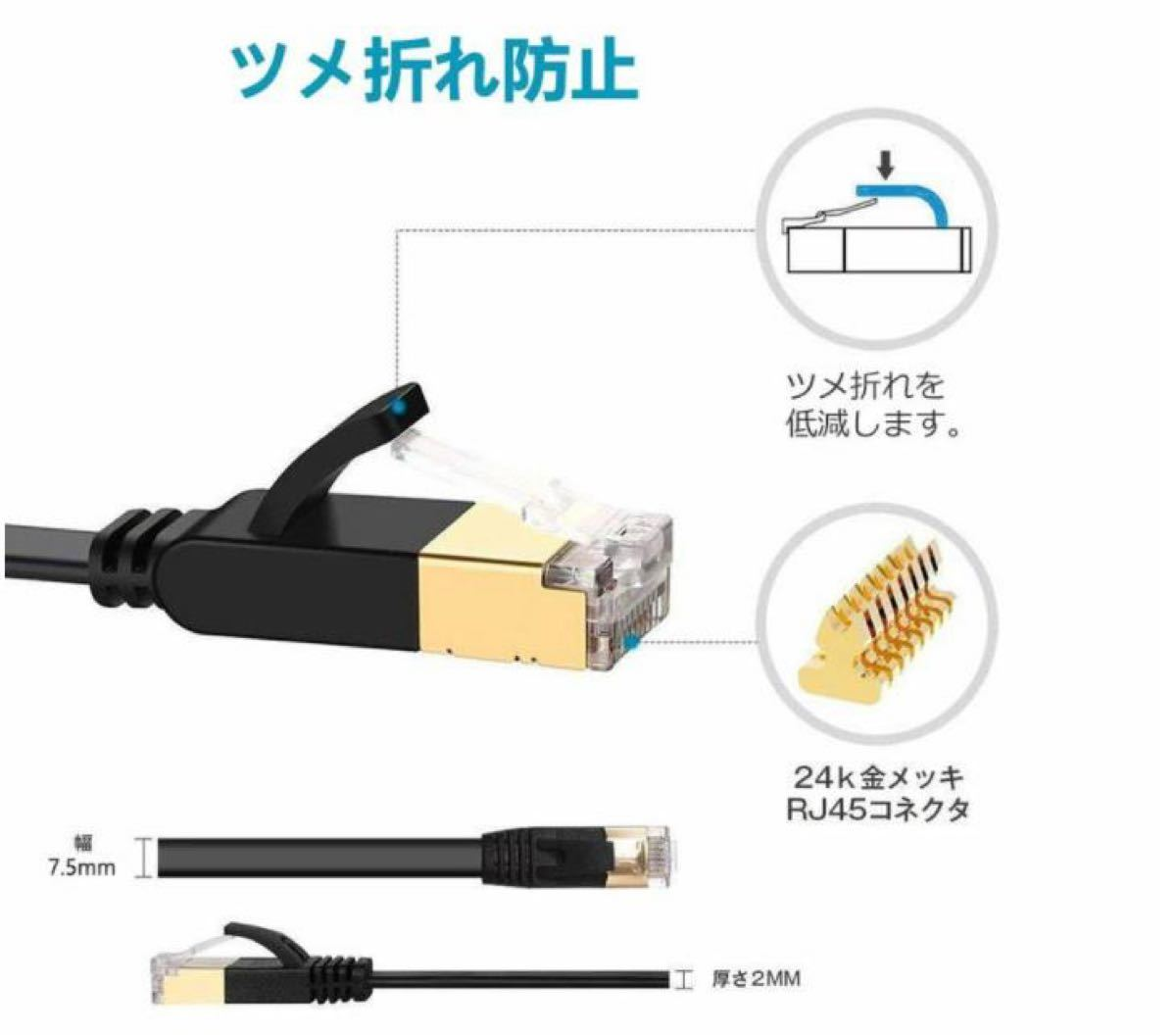 LANケーブル CAT8 5m RJ45 40ギガビット 高速光通信対応