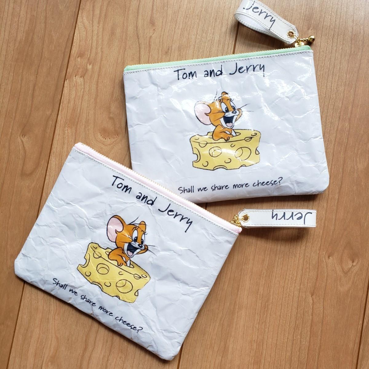 ハンドメイド 紙袋リメイクポーチ トムとジェリー トムジェリ ぺたんこポーチ 小物ポーチ 通帳ケース 通帳ポーチ フラットポーチ