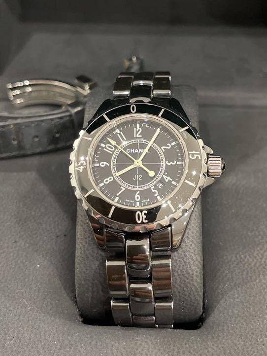 新品仕上げ 新品電池 CHANEL J12 33ミリ レディース 高級腕時計 シャネル 新品ベルト 確実正規品 本物 純正