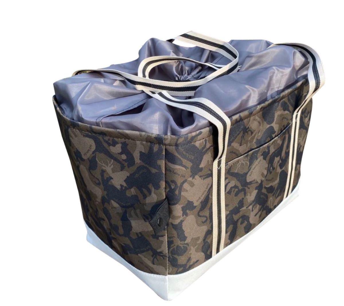 レジカゴバッグ 保冷保温折りたたみ エコバッグ 大容量レジかごバック ブラウン