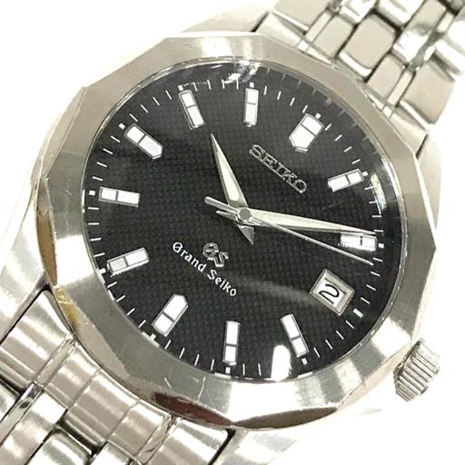 1円 セイコー グランドセイコー デイト クォーツ 腕時計 8J56-8000 ブラック文字盤 メンズ 稼働品 純正ブレス SEIKO