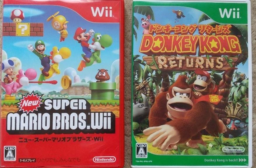 Wii ニュースーパーマリオブラザーズ+ドンキーコングリターンズ 動作確認済み 送料無料