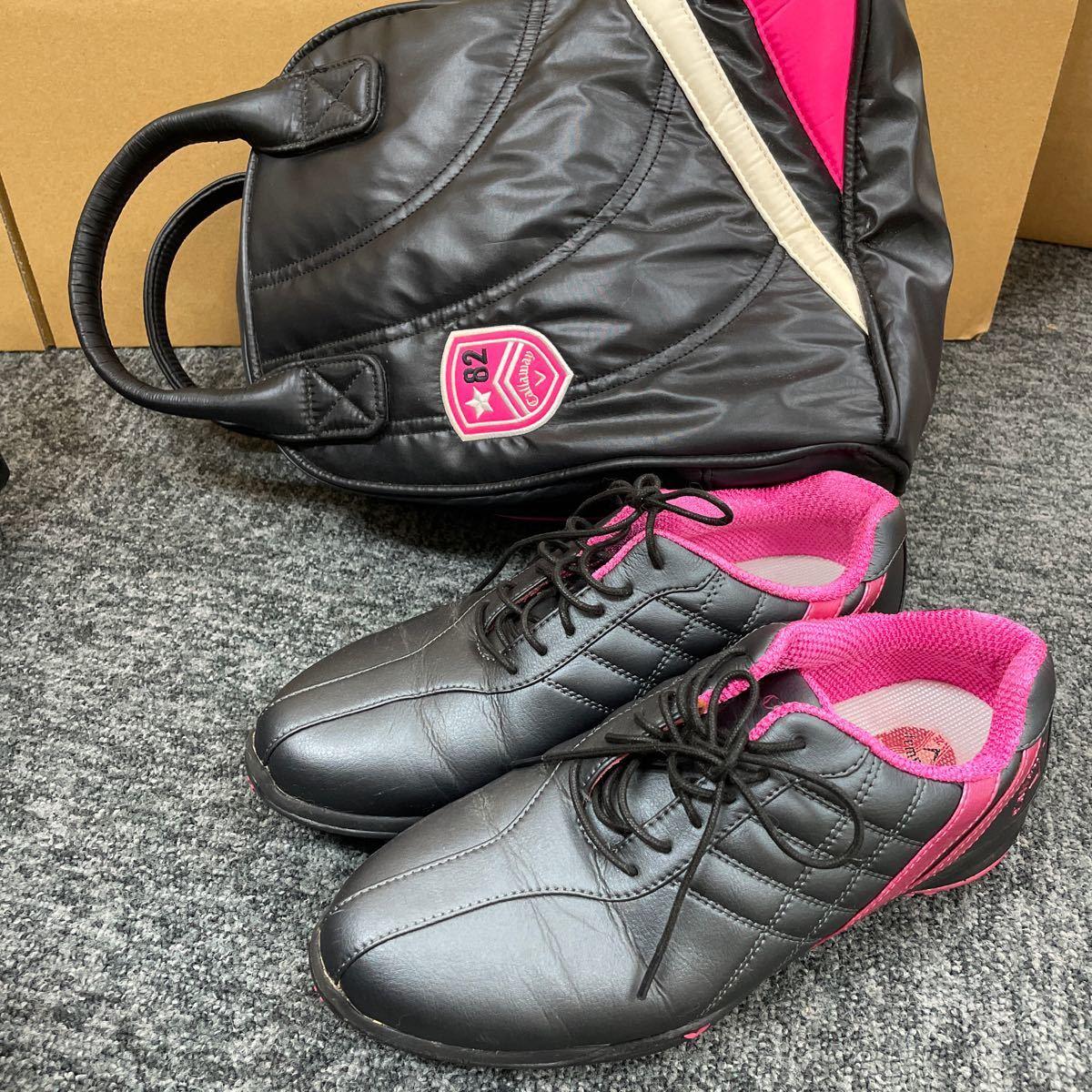 Callaway キャロウェイ レディース ゴルフシューズ 24.5cm ブラック×ピンク JVW803-23 収納ケース付き