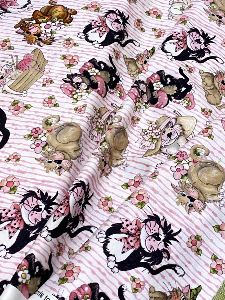 ロラライハリス Tossed Fancy Cats 新作 ピンク キャット USAコットン