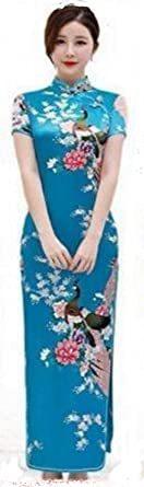 ブルー XXL 【美々杏】ロング丈 チャイナドレス サテン つるつる 孔雀と牡丹模様 コスプレ ハロウィン 舞台衣装 (ブルー,_画像1