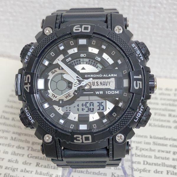 美品 ★U.SNAVY メンズ デジアナ 多機能 腕時計 ★ 3針 アラーム クロノ ブラック 稼動品 F5247_画像1