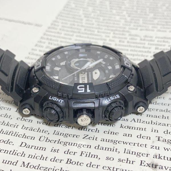 美品 ★U.SNAVY メンズ デジアナ 多機能 腕時計 ★ 3針 アラーム クロノ ブラック 稼動品 F5247_画像6