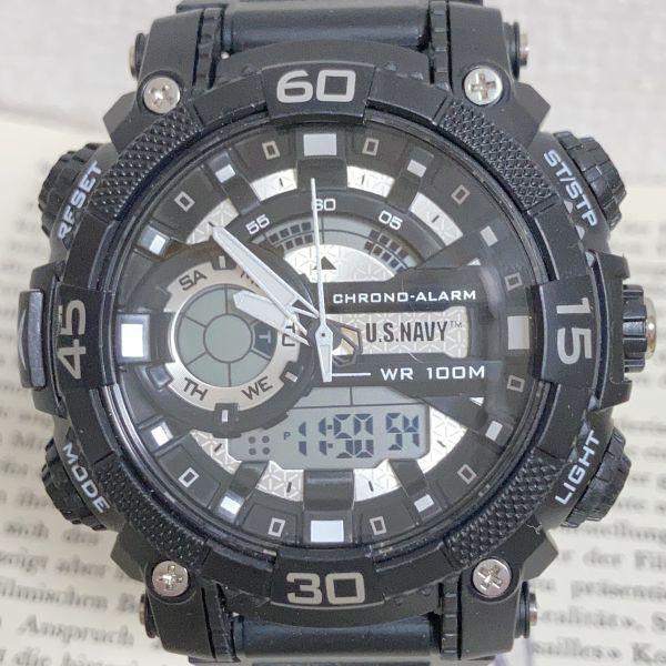 美品 ★U.SNAVY メンズ デジアナ 多機能 腕時計 ★ 3針 アラーム クロノ ブラック 稼動品 F5247_画像4