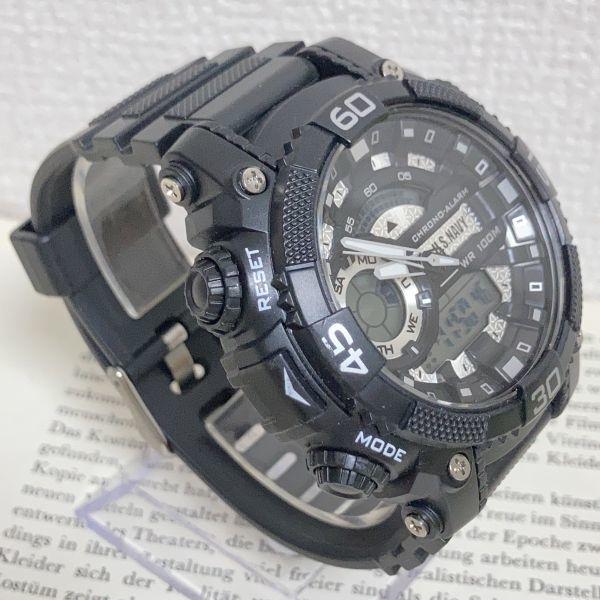美品 ★U.SNAVY メンズ デジアナ 多機能 腕時計 ★ 3針 アラーム クロノ ブラック 稼動品 F5247_画像3