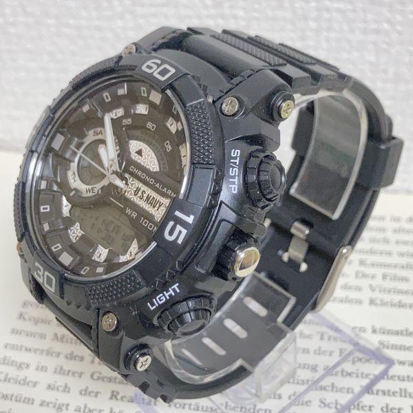 美品 ★U.SNAVY メンズ デジアナ 多機能 腕時計 ★ 3針 アラーム クロノ ブラック 稼動品 F5247_画像2