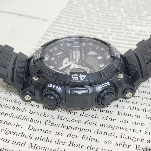 美品 ★U.SNAVY メンズ デジアナ 多機能 腕時計 ★ 3針 アラーム クロノ ブラック 稼動品 F5247_画像5