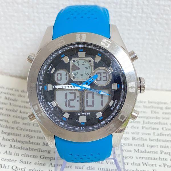 ★QUIKSILVER メンズ デジアナ 多機能 腕時計★ クイックシルバー 3針 アラーム クロノ タイマー シルバー 稼動品 F5302_画像1