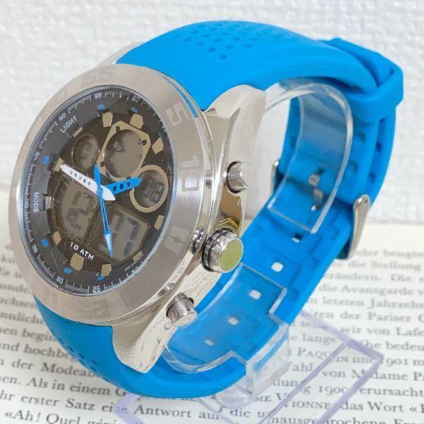 ★QUIKSILVER メンズ デジアナ 多機能 腕時計★ クイックシルバー 3針 アラーム クロノ タイマー シルバー 稼動品 F5302_画像2