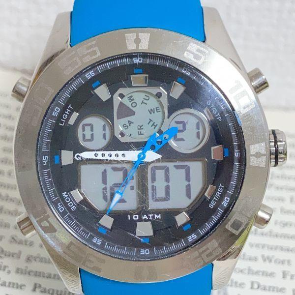 ★QUIKSILVER メンズ デジアナ 多機能 腕時計★ クイックシルバー 3針 アラーム クロノ タイマー シルバー 稼動品 F5302_画像4