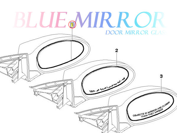 BMW E90 E91 E92 320i 323i 325i 335i (前期) ブルーワイド(広角) ドアミラーガラス ドアミラーレンズ 左側 51167145267 出荷締切18時_画像4