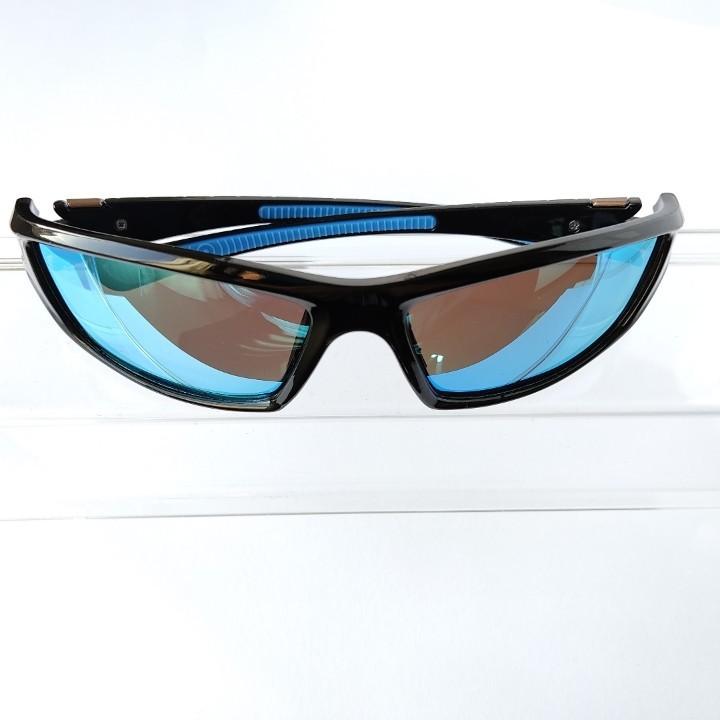 紫外線カットミラータイプ  偏光スポーツサングラス ダークブルー アウトドア キャンプ フィッシング